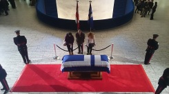 Mourners file past Rob Ford's casket on March 29, 2016, at Toronto City Hall's main rotunda. Photo credit: Peter Paul