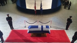 Rob Ford's casket is seen on March 29, 2016, at Toronto City Hall's main rotunda. Photo credit: Peter Paul
