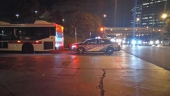 A new Toronto police scout car parked on Triton and McCowan Roads blocking off the eastern entrance of the TTC bus bay.